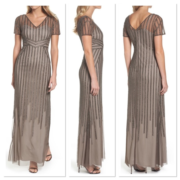 bb78a6fb Adrianna Papell Dresses   Beaded Mesh Gown   Poshmark